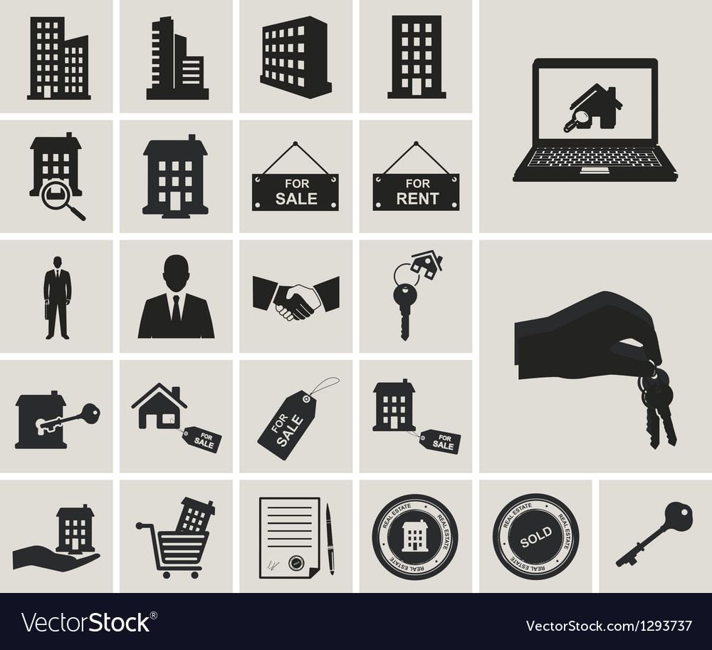 Houses and real estate web icons set vector | Price: 1 Credit (USD $1)