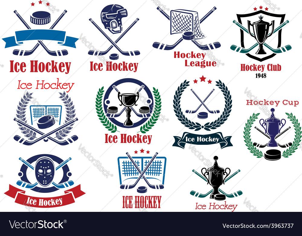 Ice hockey emblems symbols and logos set vector | Price: 1 Credit (USD $1)
