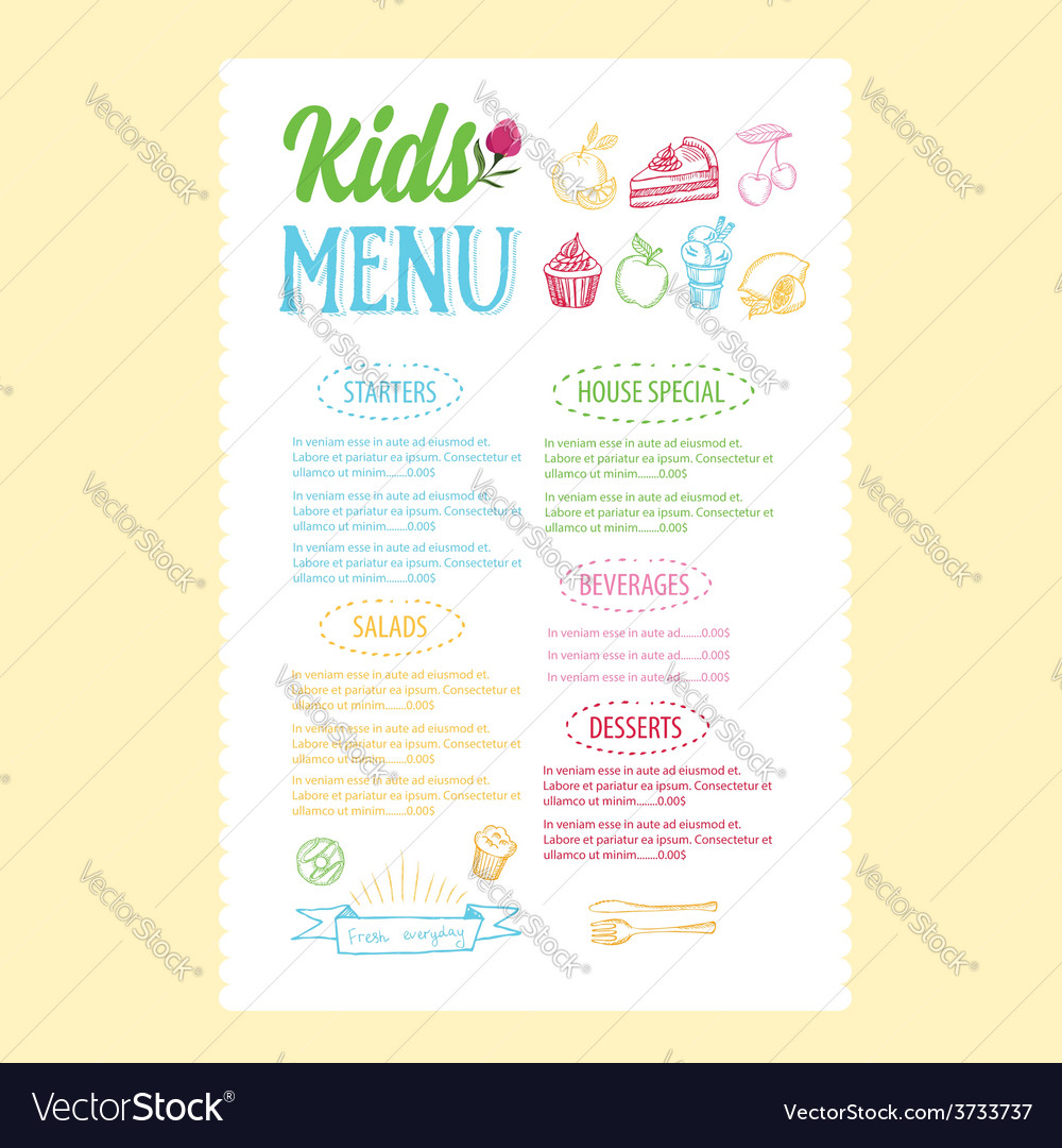 Kids menu template vector | Price: 1 Credit (USD $1)