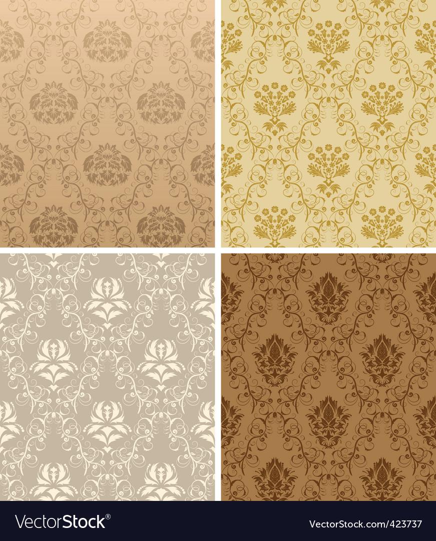 Seamless damask pattern set vector   Price: 1 Credit (USD $1)