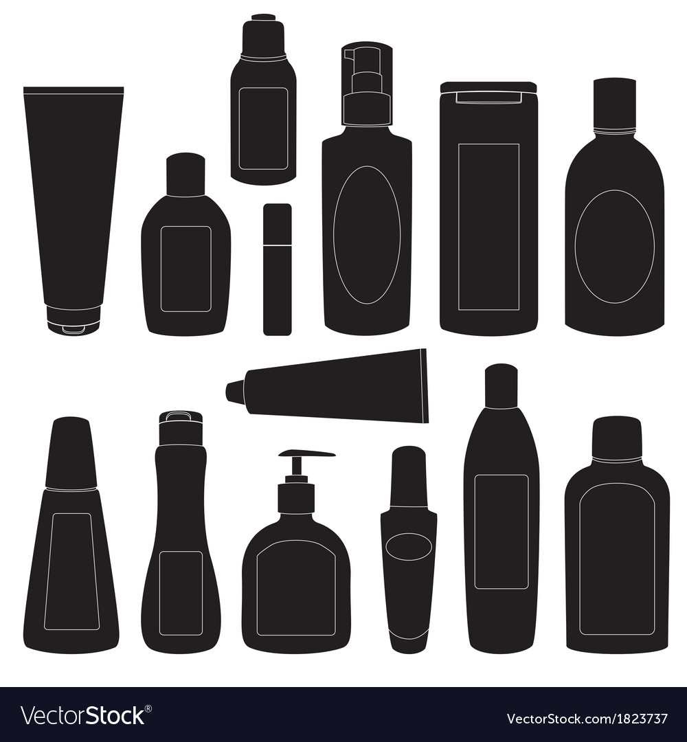 Set of cosmetic bottles silhouettes vector | Price: 1 Credit (USD $1)