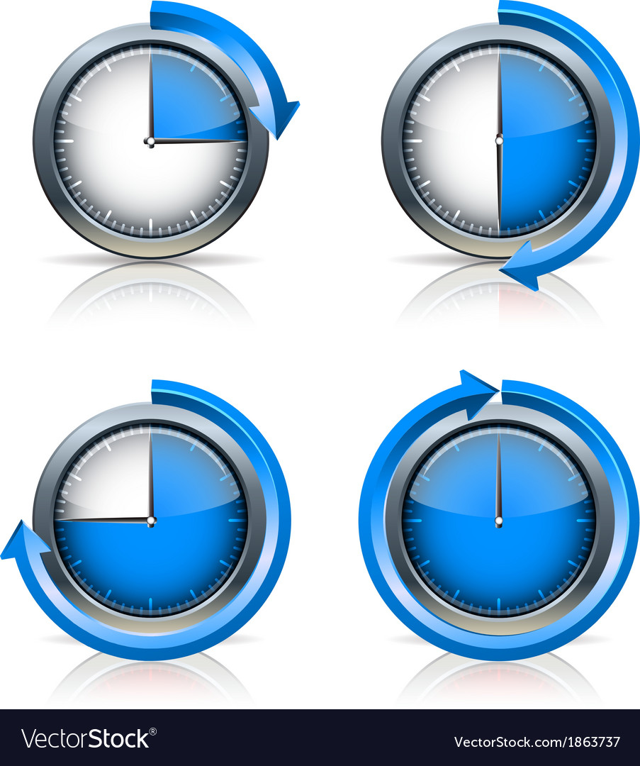Set of timer clocks vector | Price: 1 Credit (USD $1)