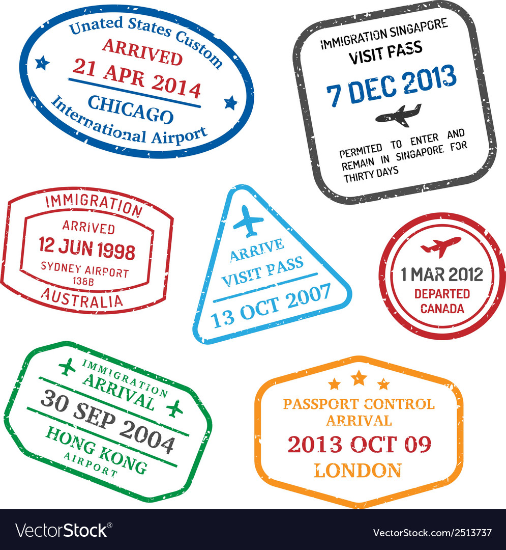 Travel visa stamps vector | Price: 1 Credit (USD $1)