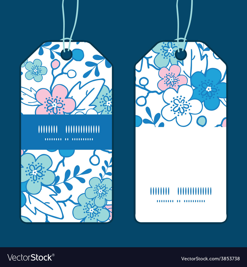 Blue and pink kimono blossoms vertical vector   Price: 1 Credit (USD $1)