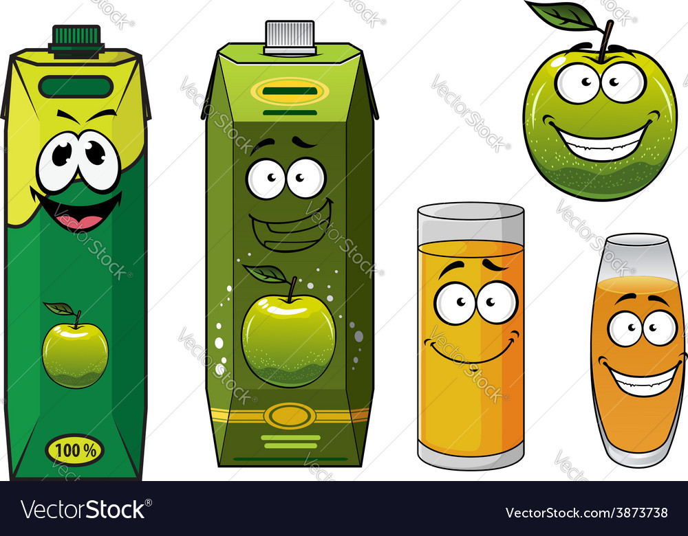 Cartoon happy green apple fruit glasses and packs vector | Price: 1 Credit (USD $1)