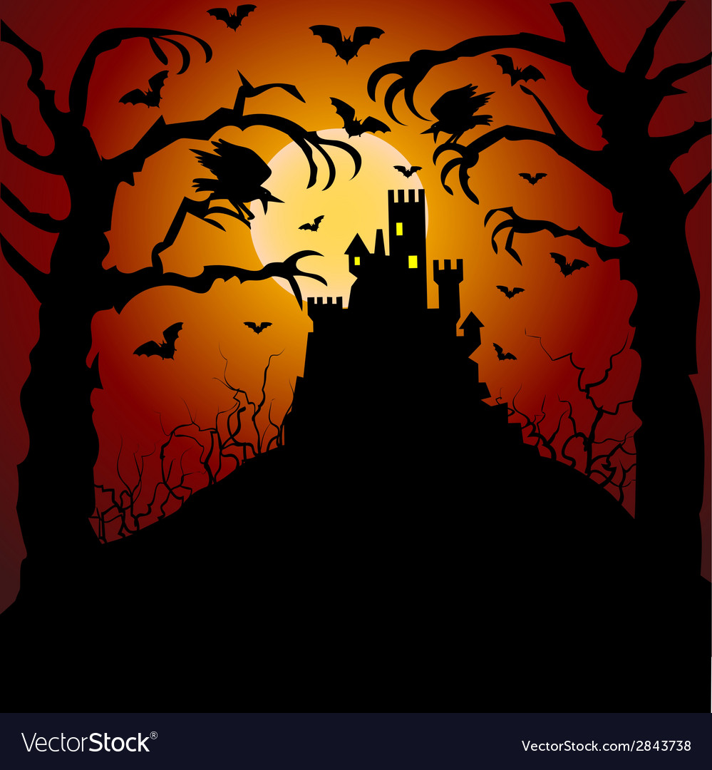 Castle cemetery and raven vector | Price: 1 Credit (USD $1)