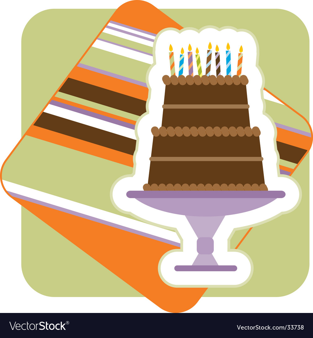Chocolate birthday cake illustration vector | Price: 1 Credit (USD $1)