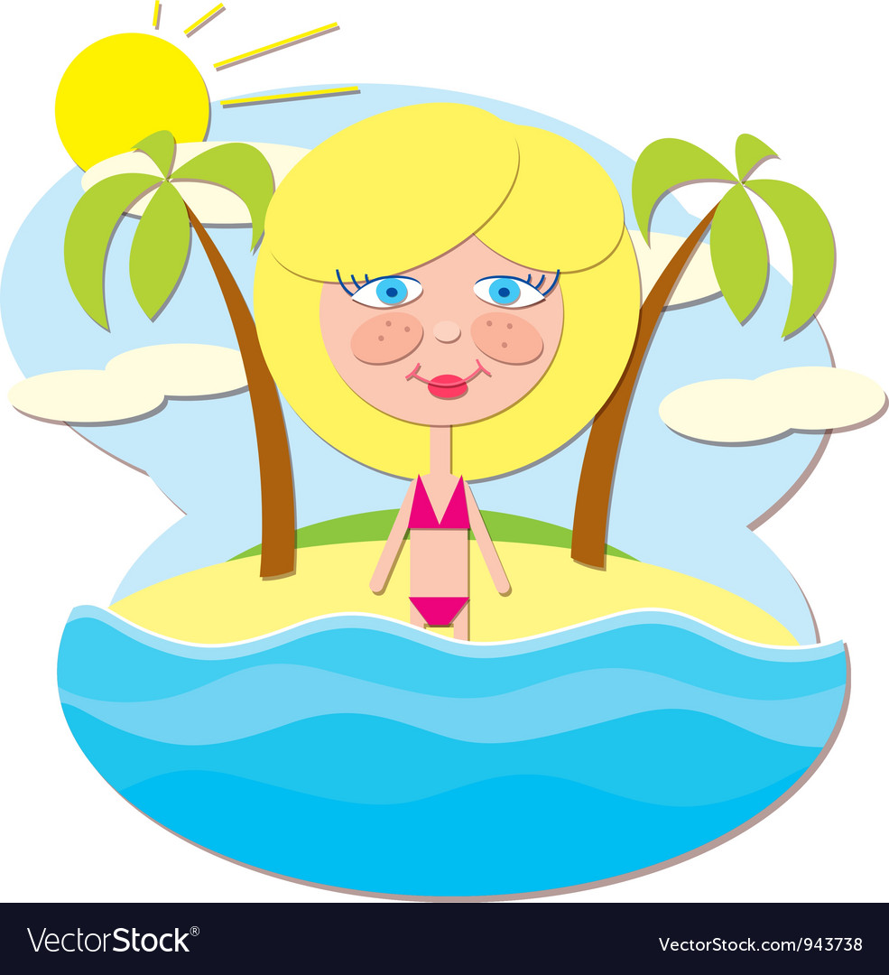 Girl at sea vector | Price: 1 Credit (USD $1)