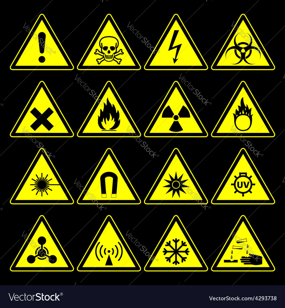 Hazard symbols and signs collection vector | Price: 1 Credit (USD $1)