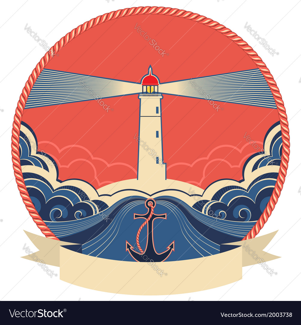 Lighthouse label with anchor and rope frame vector | Price: 1 Credit (USD $1)