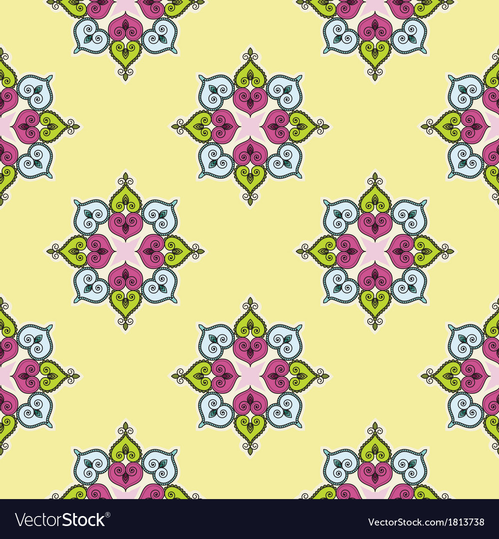 Seamless traditional indian flower background patt vector | Price: 1 Credit (USD $1)