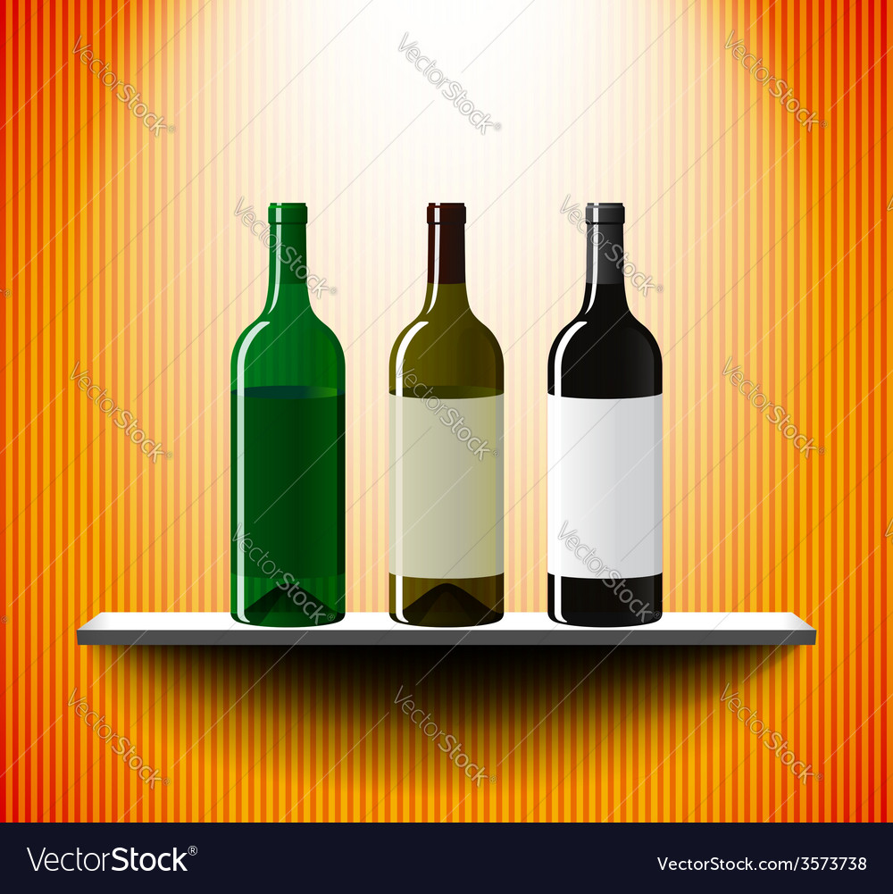 Shelf with three vine bottles vector   Price: 1 Credit (USD $1)