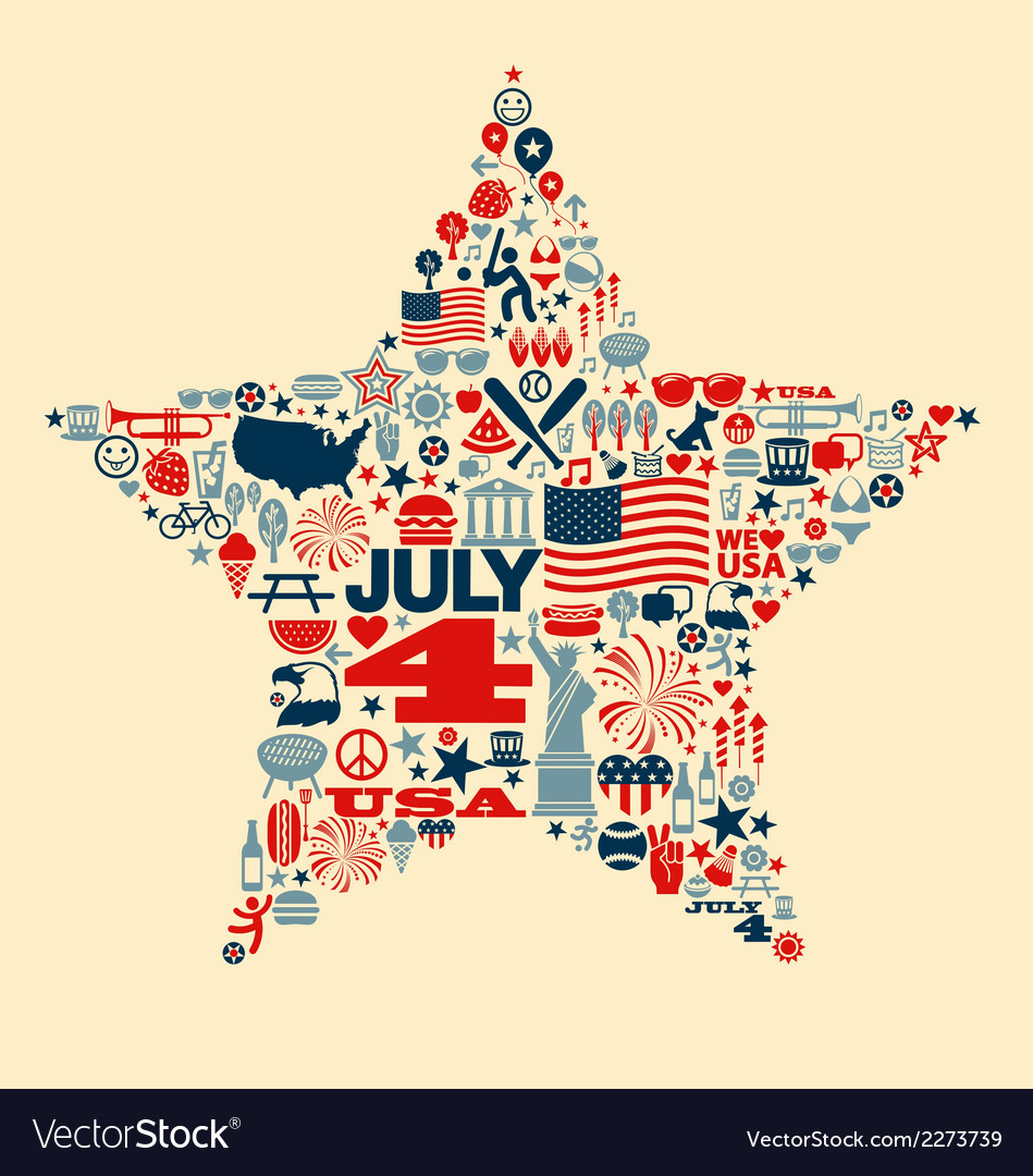4th of july icons symbols collage tshirt design vector