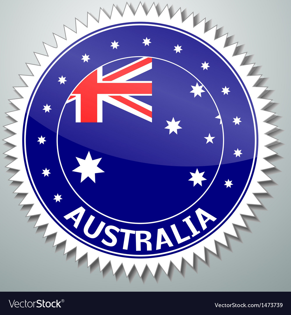 Australian flag label vector | Price: 1 Credit (USD $1)