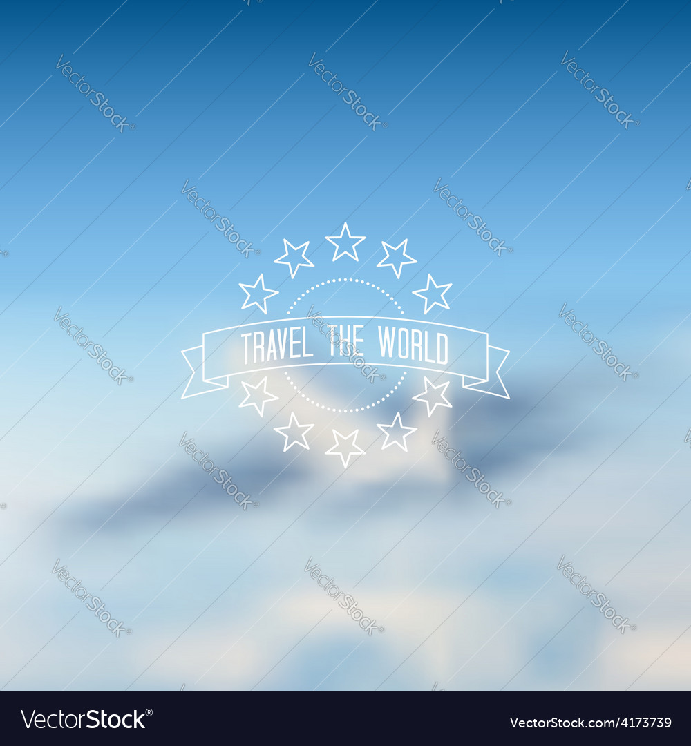 Blurred flying airplane background outline label vector | Price: 1 Credit (USD $1)