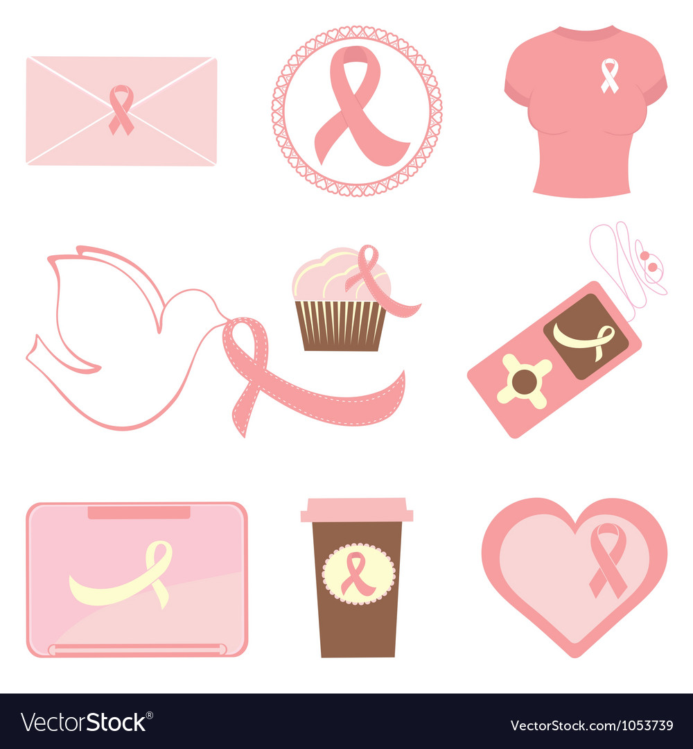 Breast cancer icons vector | Price: 1 Credit (USD $1)