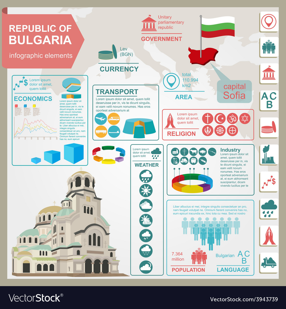 Bulgaria infographics statistical data sights vector | Price: 1 Credit (USD $1)