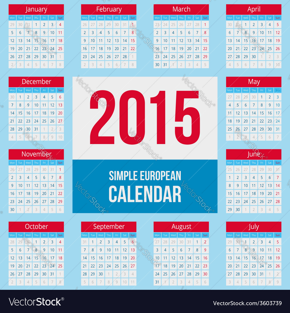 European 2015 year calendar vector   Price: 1 Credit (USD $1)