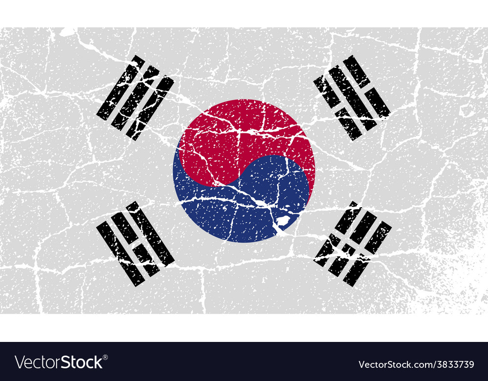 Flag of south korea with old texture vector   Price: 1 Credit (USD $1)