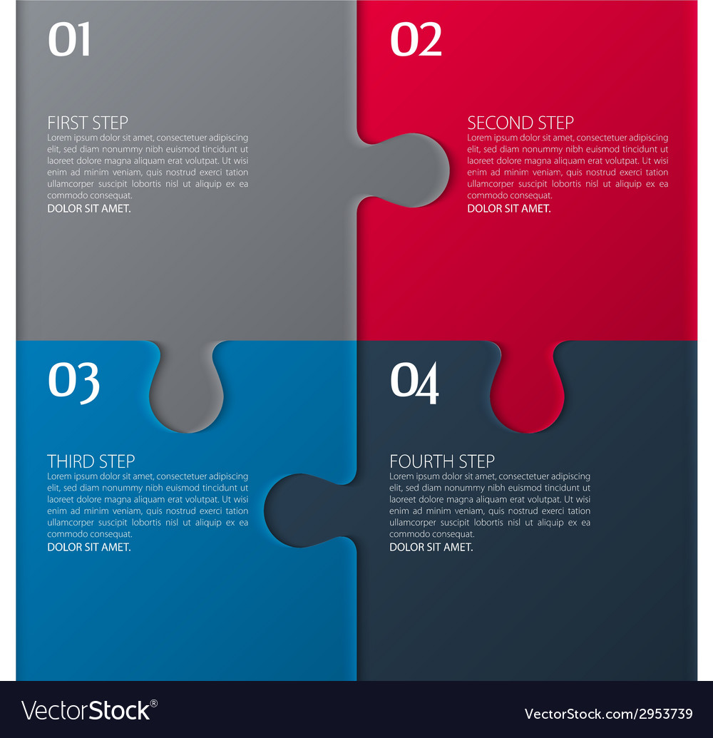 Four parts of puzzle vector | Price: 1 Credit (USD $1)