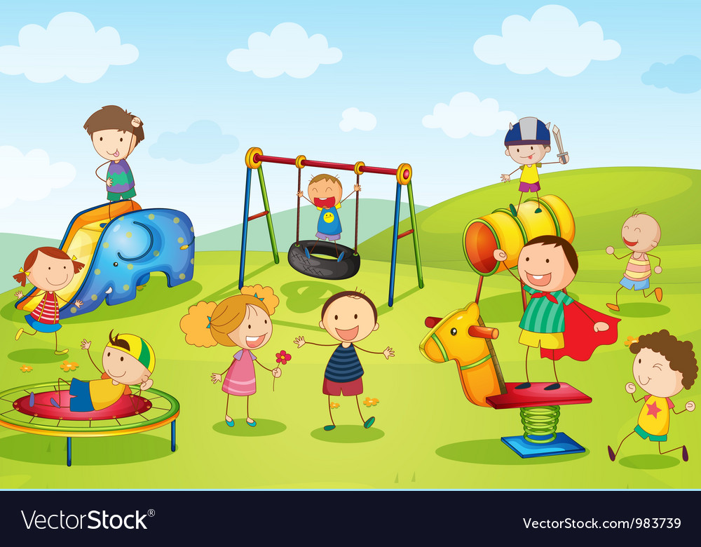 Kids at playground vector | Price: 3 Credit (USD $3)