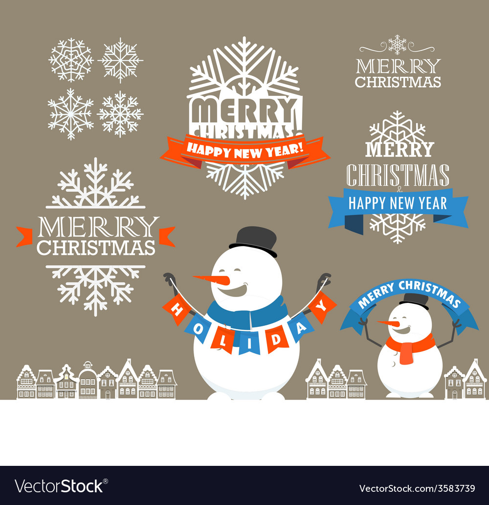 Merry christmas and a happy new year wishes vector   Price: 1 Credit (USD $1)