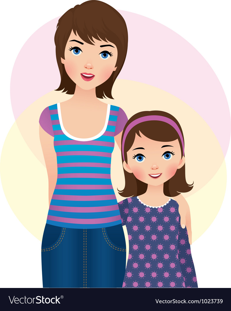 Mom and daughter vector | Price: 3 Credit (USD $3)