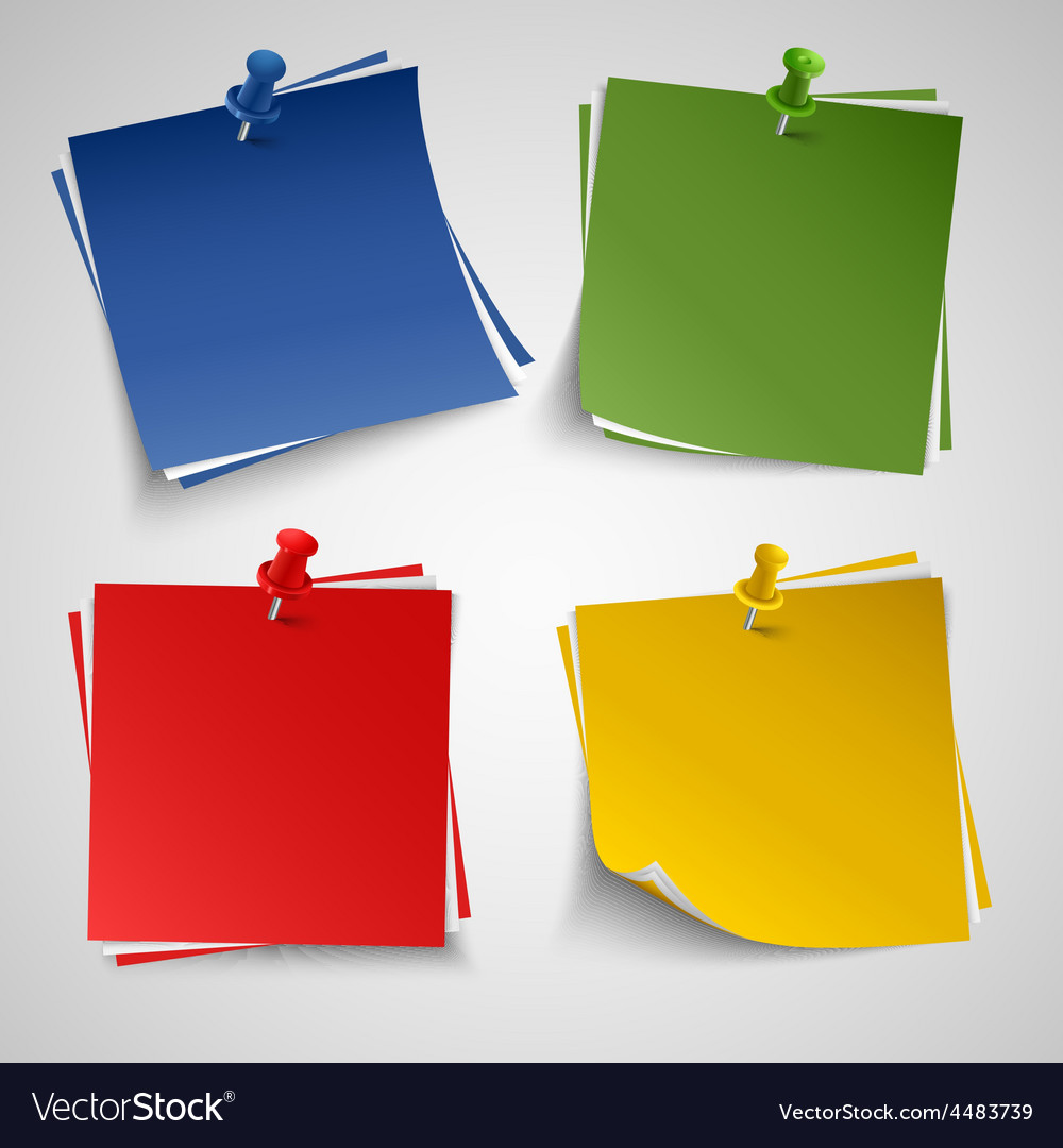 Note color paper with push colored pin template vector | Price: 1 Credit (USD $1)