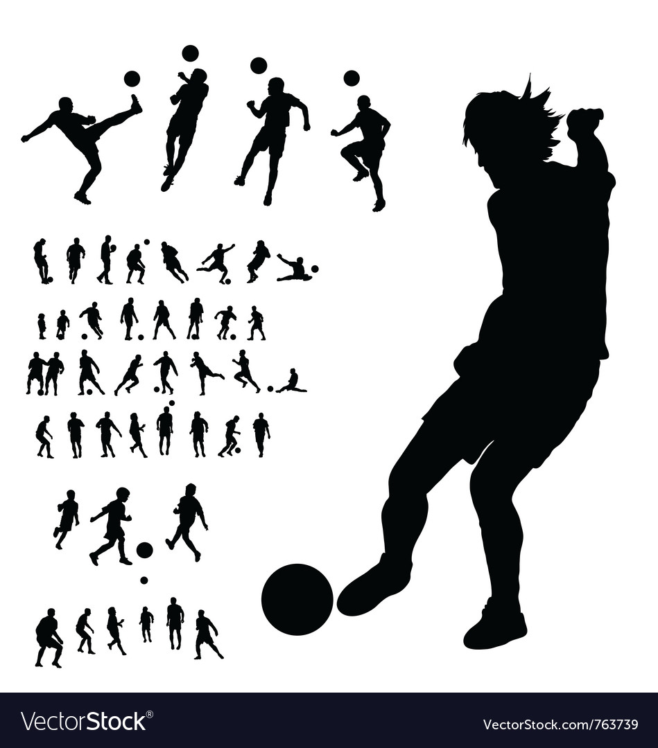 Soccer silhouettes collection vector | Price: 1 Credit (USD $1)
