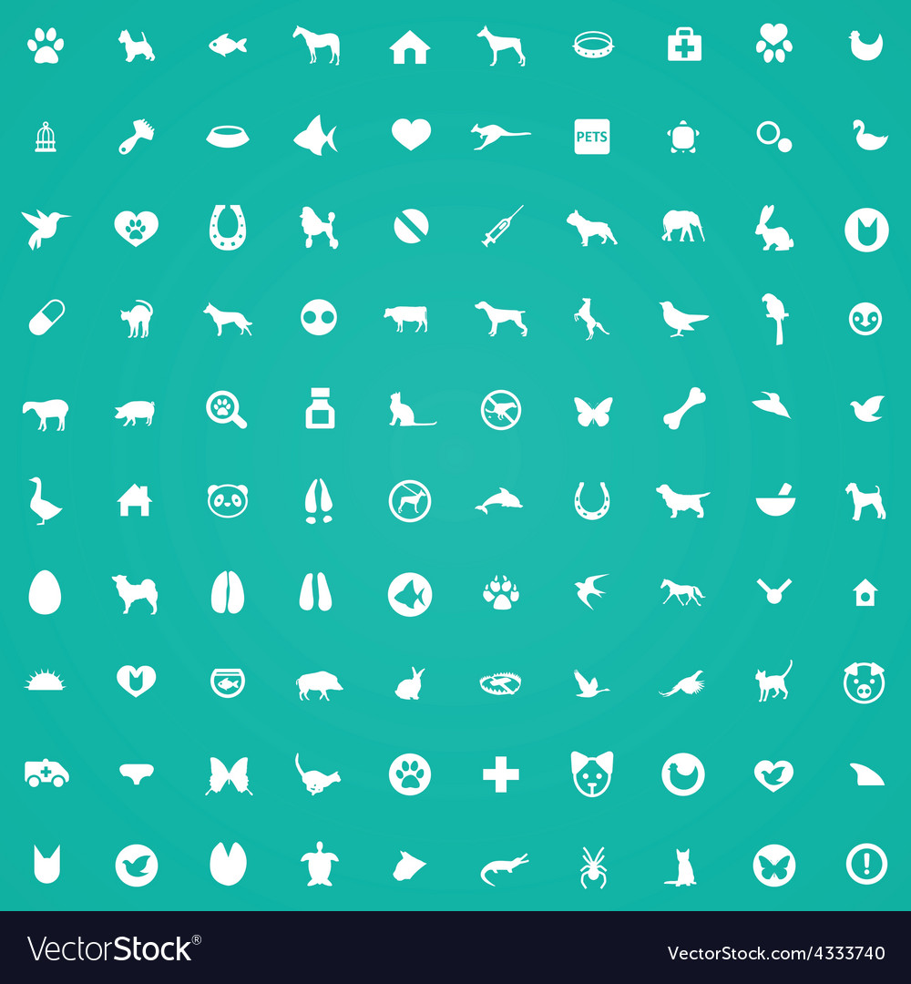 100 animals pets icons vector | Price: 1 Credit (USD $1)