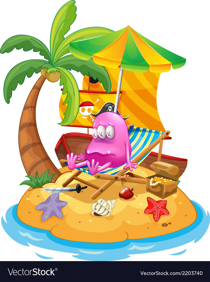 A pink pirate monster in the island vector | Price: 3 Credit (USD $3)