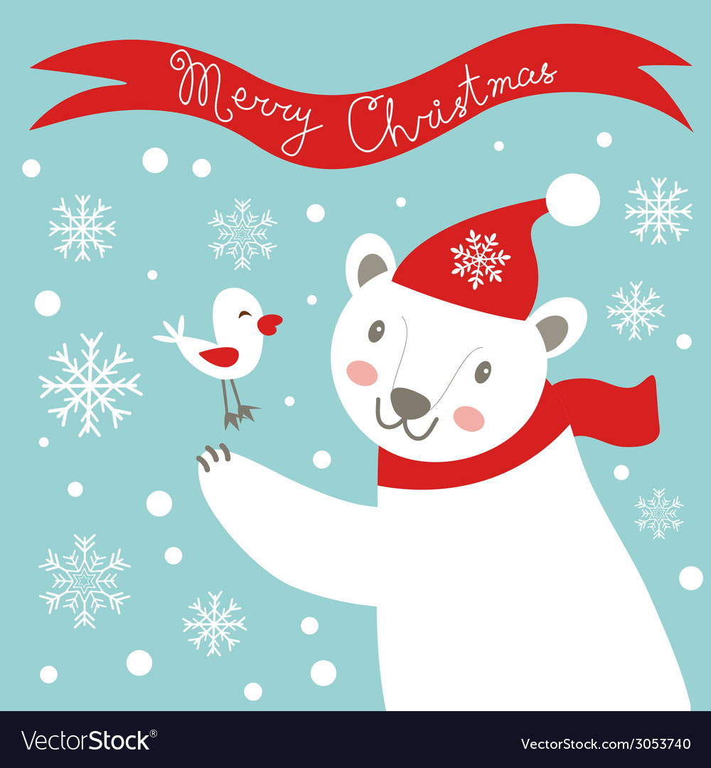 Christmas card with white bear vector | Price: 1 Credit (USD $1)
