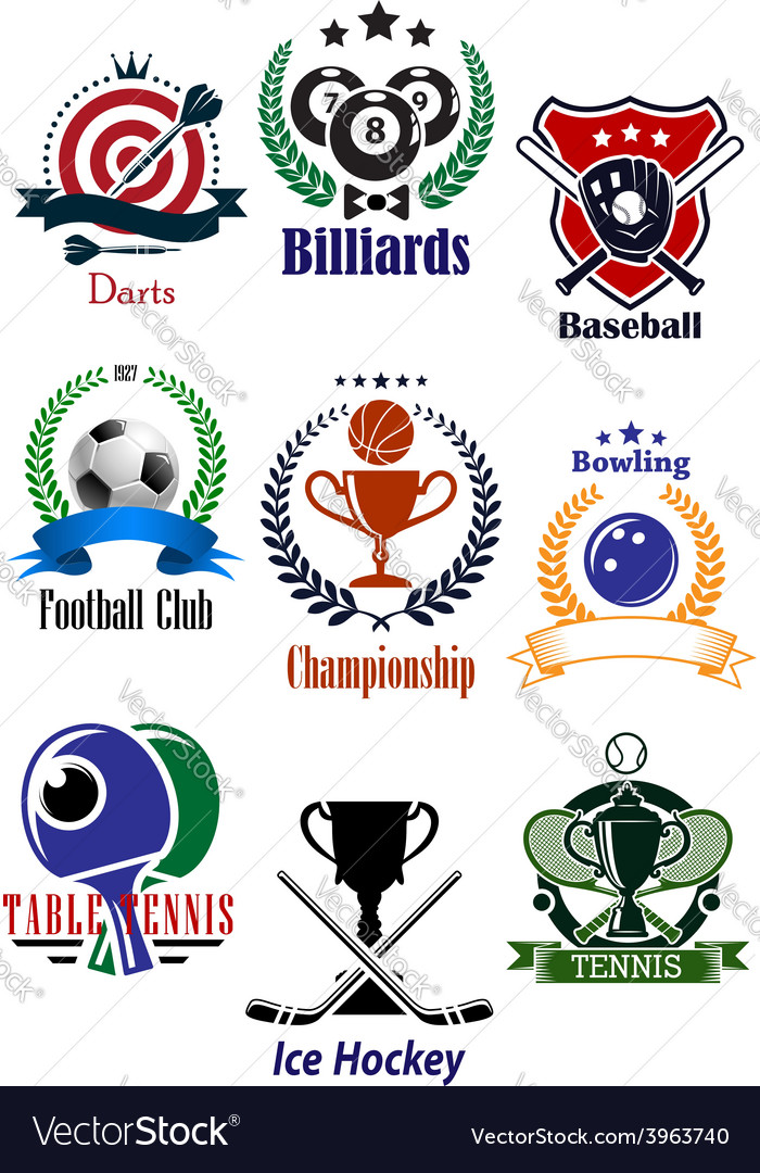 Colored sports tournaments emblems set vector | Price: 1 Credit (USD $1)