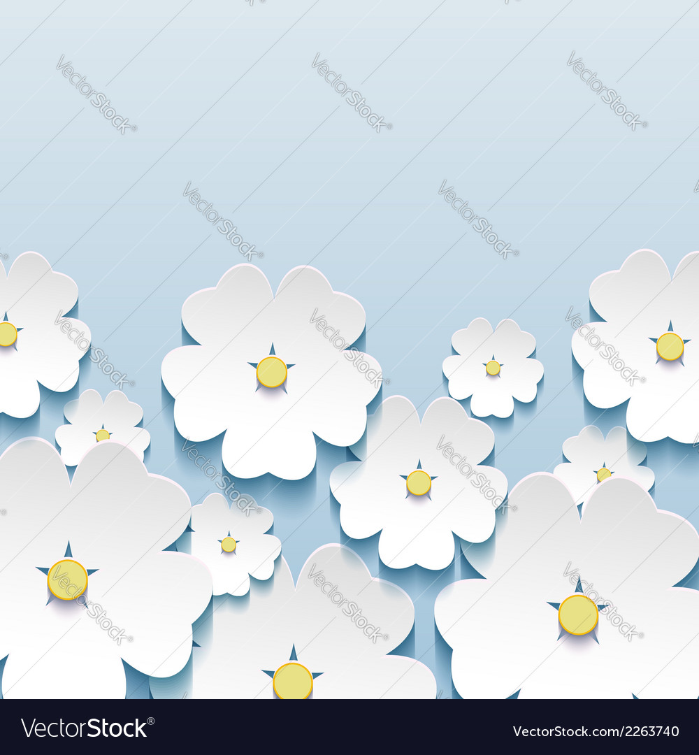 Greeting card with 3d japanese flowers sakura vector | Price: 1 Credit (USD $1)