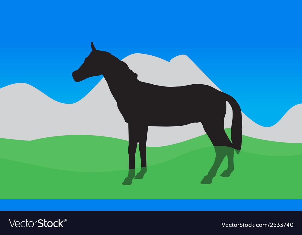 Horse walks eats the grass  eps10 vector | Price: 1 Credit (USD $1)