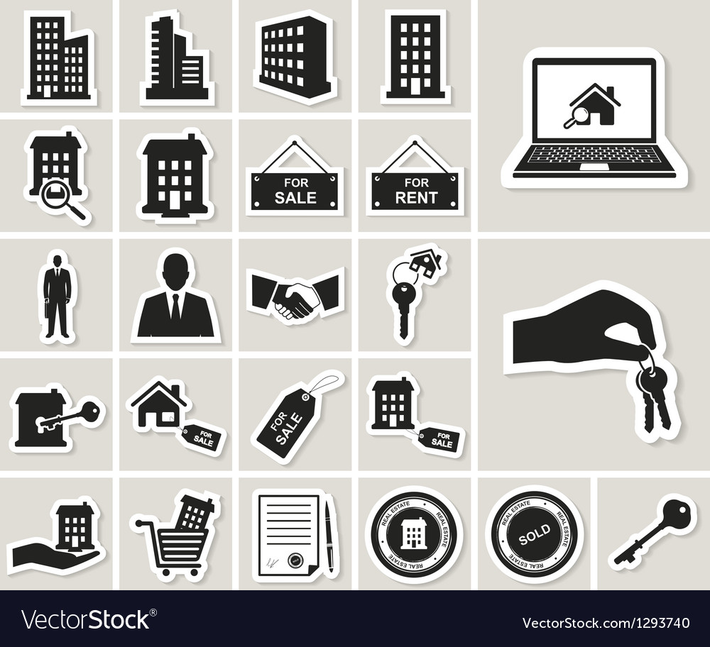 Houses and real estate stickers icons set vector | Price: 1 Credit (USD $1)