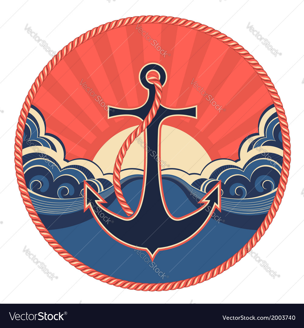 Nautical label with anchor and sea waves vector | Price: 1 Credit (USD $1)