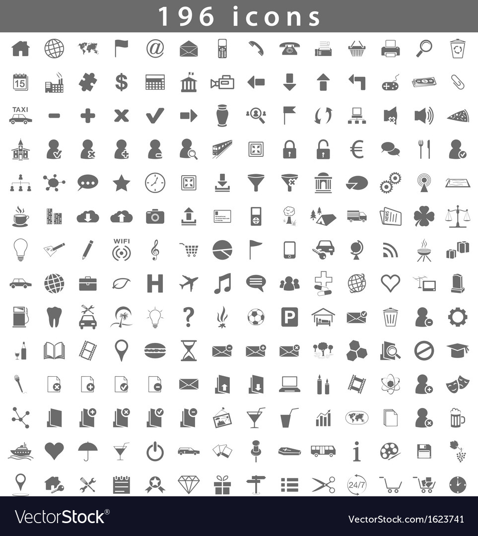196 icons vector | Price: 1 Credit (USD $1)