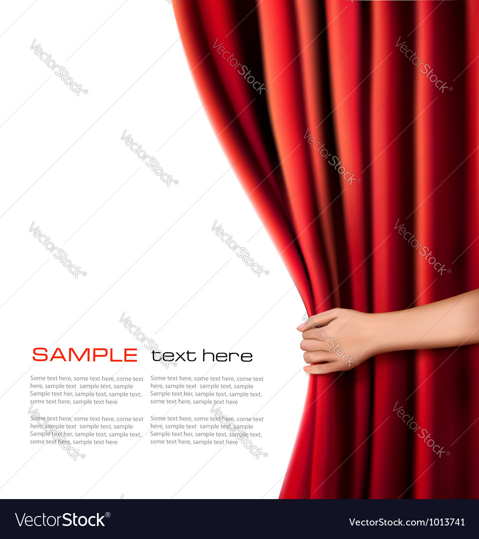 Background with red velvet curtain and hand vector | Price: 1 Credit (USD $1)