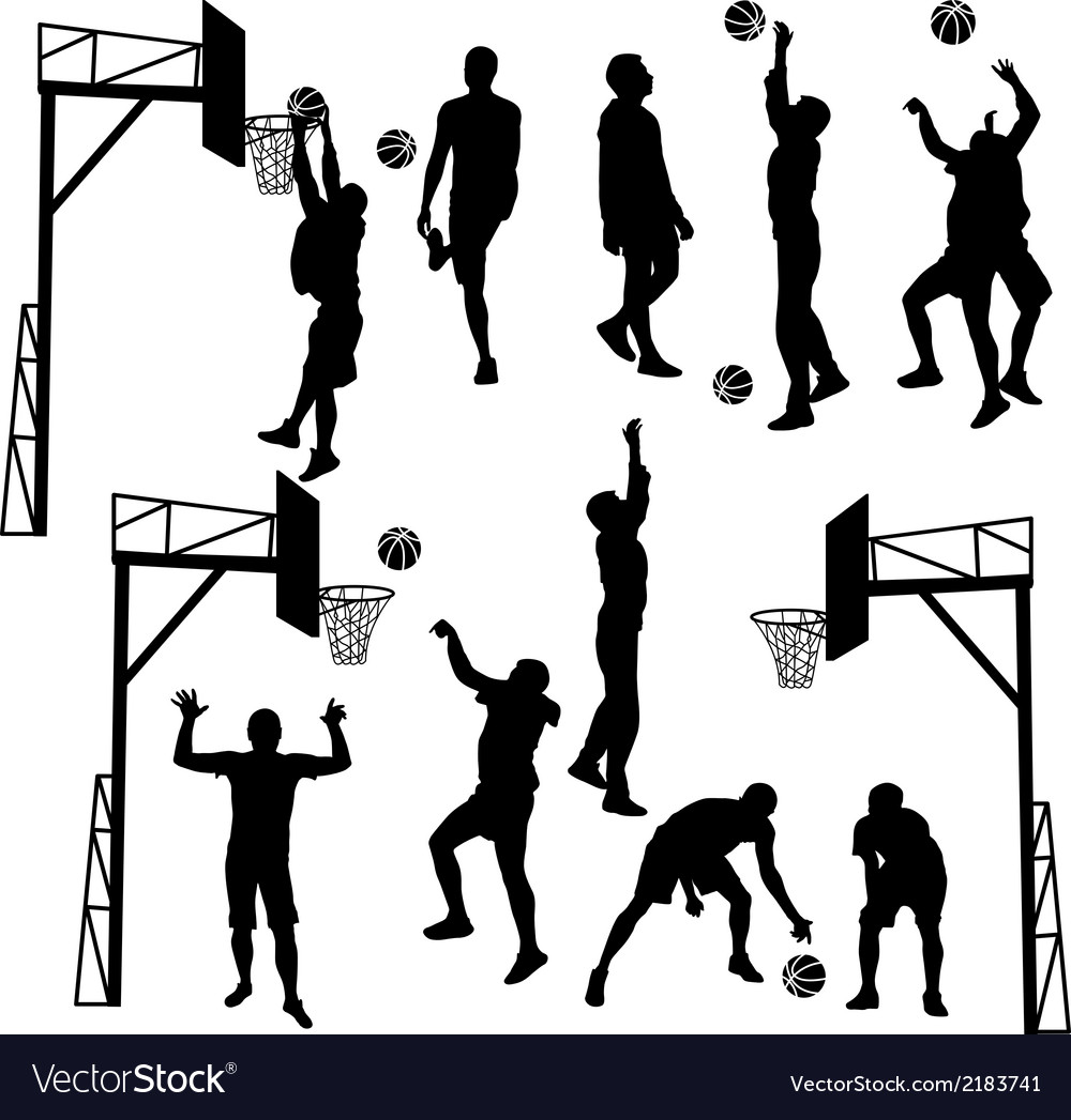 Black silhouettes of men playing basketball on a vector | Price: 1 Credit (USD $1)