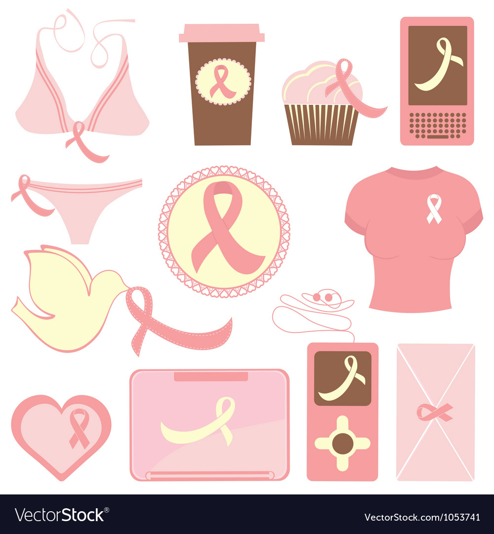 Breast cancer items vector | Price: 1 Credit (USD $1)