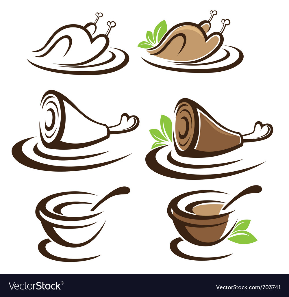 Collection of food symbols vector   Price: 1 Credit (USD $1)