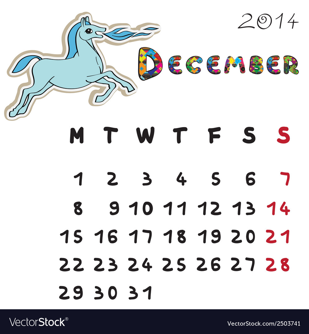 Color horse calendar 2014 december vector | Price: 1 Credit (USD $1)