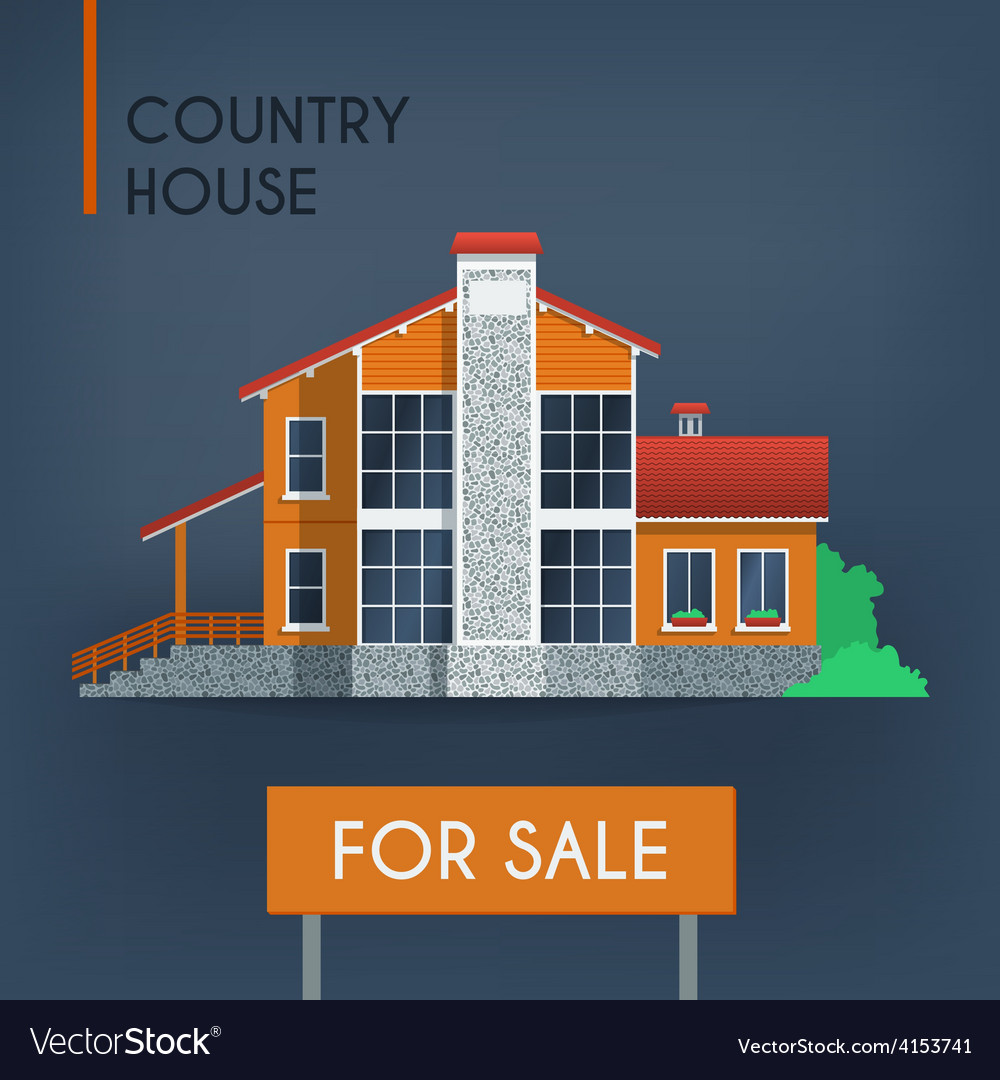 Country house with red roof vector | Price: 1 Credit (USD $1)