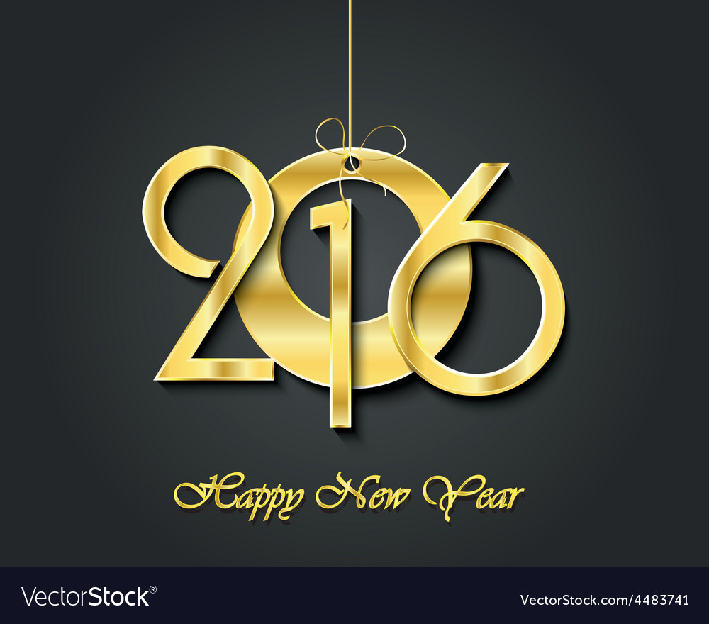 Creative happy new year 2016 greeting card design vector | Price: 1 Credit (USD $1)