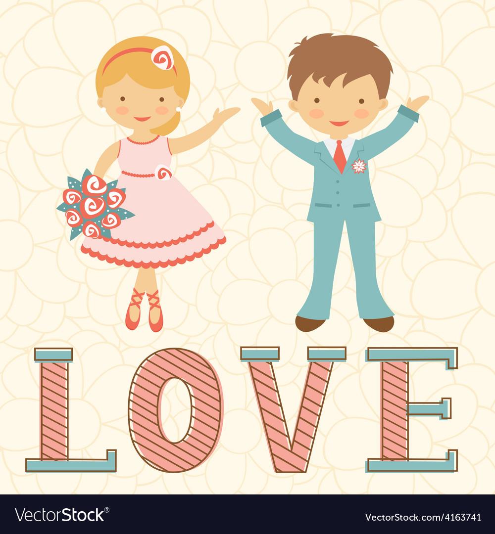 Cute wedding couple vector | Price: 1 Credit (USD $1)