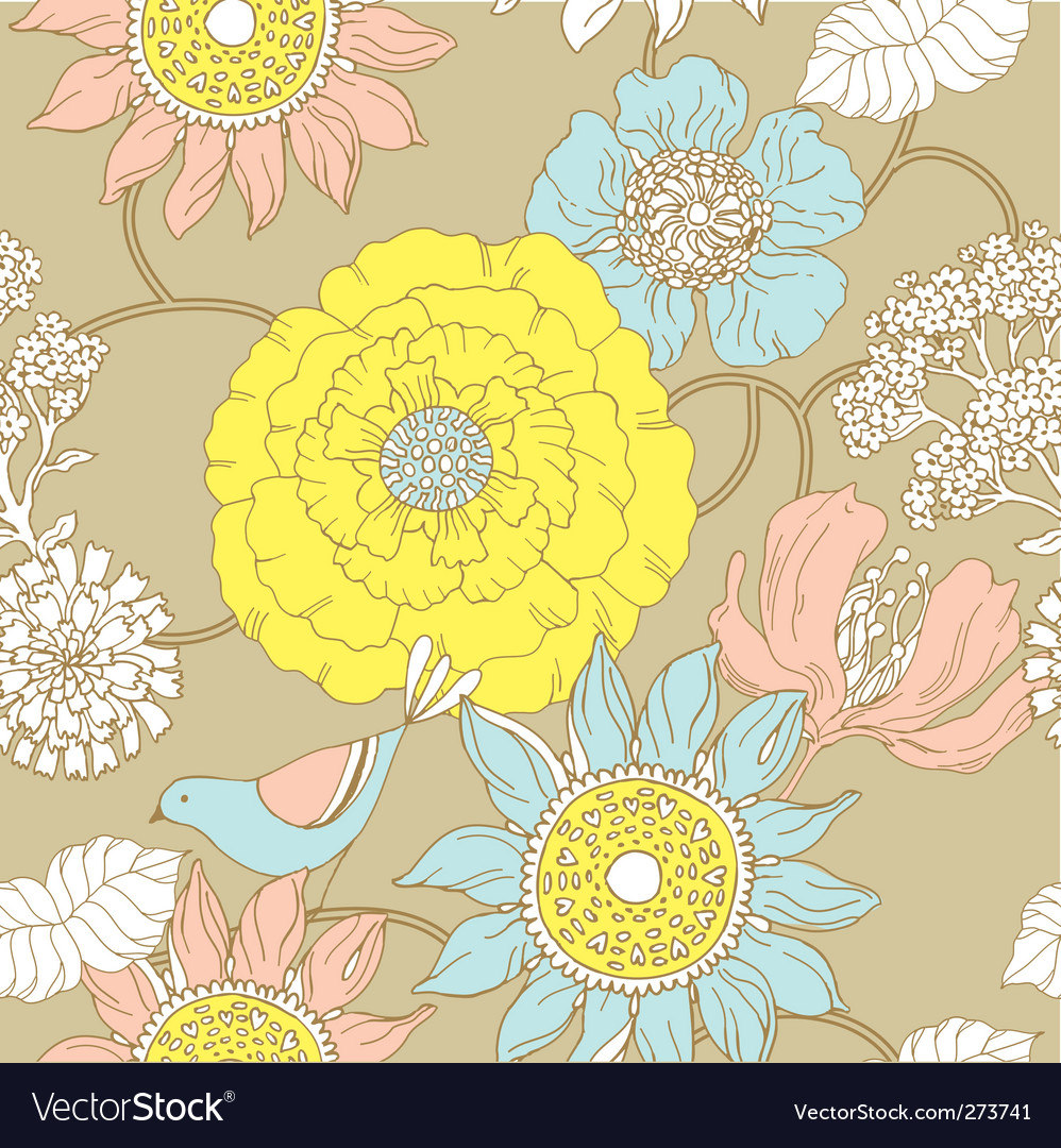 Floral garden pattern vector | Price: 1 Credit (USD $1)