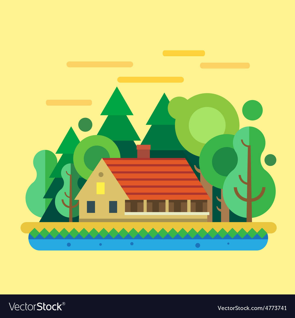 House in forest summer landscape vector   Price: 3 Credit (USD $3)