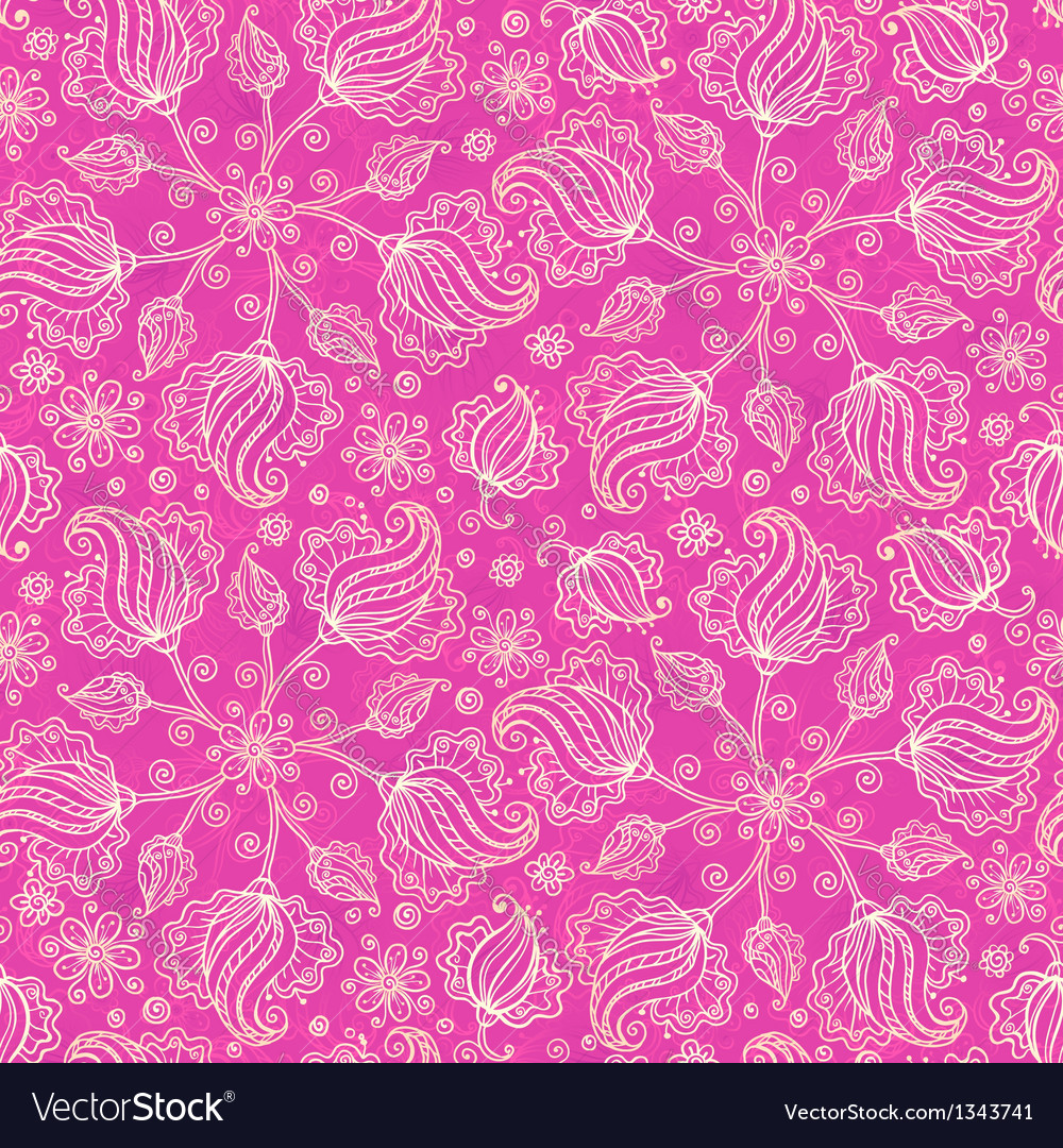 Pink doodle flowers seamless pattern vector | Price: 1 Credit (USD $1)