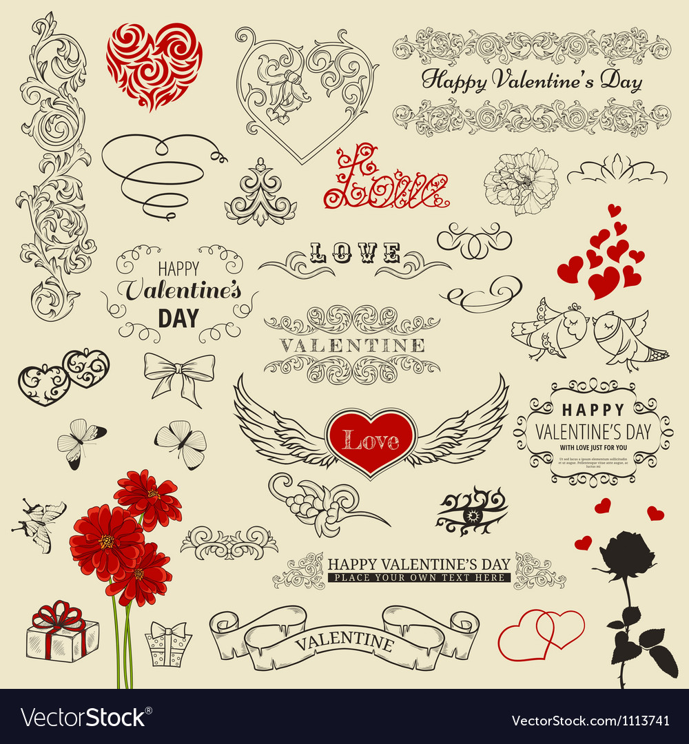 Set of vintage elements vector | Price: 1 Credit (USD $1)